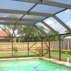 Mansard Roof Style Screen Pool Enclosure Tropical Pool