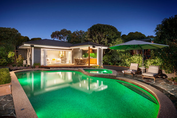 Beach Style Pool by Acorn Garden Houses