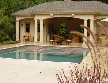 Pool House and Pool with Hidden Cover System