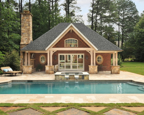 Brick and stone pool house home design ideas pictures for Stone and brick home designs