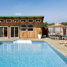 Contemporary Pool by Leslie Saul & Associates