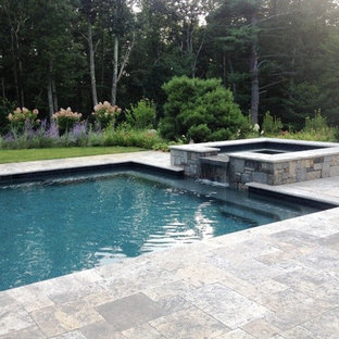 Design ideas for a large country backyard rectangular lap pool in Boston with a hot tub and tile.