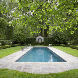 Design ideas for a large traditional backyard rectangular natural pool in New York with tile.