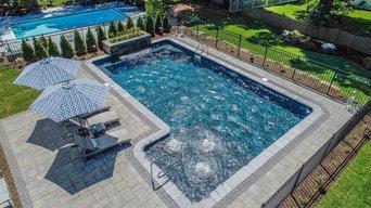 Pool Paver Installation with LED Pool Lighting