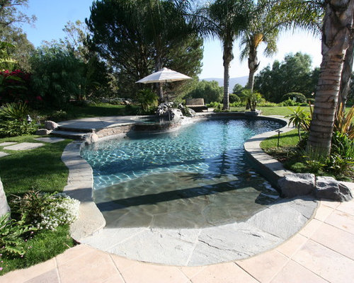 Tropical los angeles pool design ideas pictures remodel for Walk in inground pool