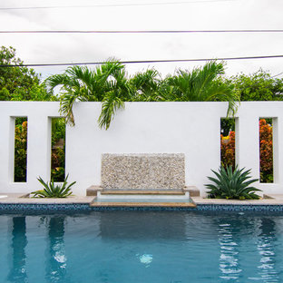 Mid-sized tropical backyard rectangular pool in Miami with a water feature and decking.