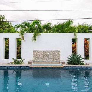 Modelo de piscina con fuente tropical, de tamaño medio, rectangular, en patio trasero, con entablado
