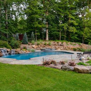 Modelo de piscinas y jacuzzis rústicos, tipo riñón, en patio trasero