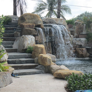 Pool waterfall and Staircase