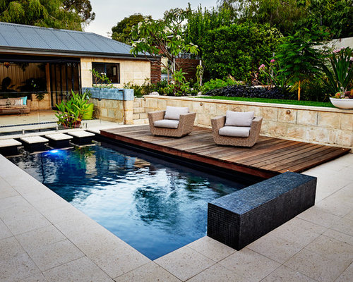Tropical Courtyard Rectangular Pool In Perth With Tile.