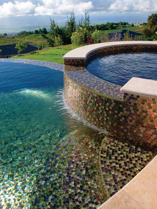 Brown glass mosaic tile home design ideas pictures for Pool tile designs