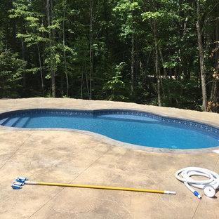 Ejemplo de piscina minimalista, pequeña, tipo riñón, en patio lateral, con suelo de hormigón estampado