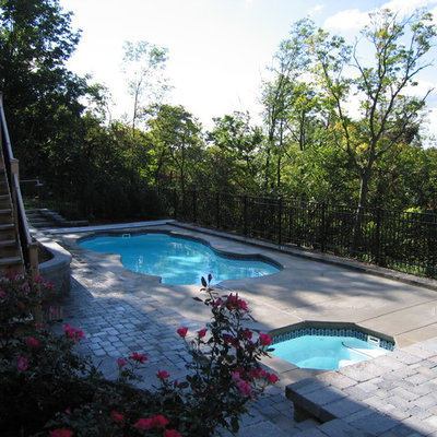 Inspiration for a mid-sized mediterranean backyard concrete paver and custom-shaped pool remodel in Other