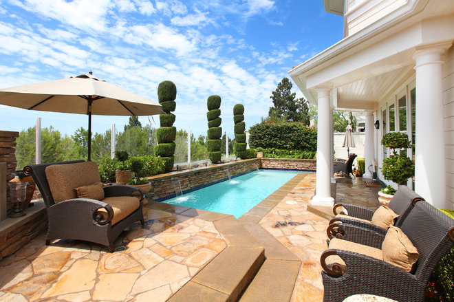 Traditional Pool by V.I.Photography & Design