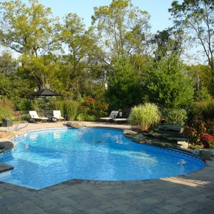 Inspiration for a large timeless backyard stone and kidney-shaped natural pool fountain remodel in Chicago