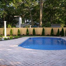 Traditional Pool by Longo's Landscaping & Masonry
