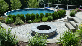Poolside Fire Pit and Patio in Florida, NY