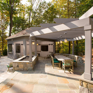Poolside Outdoor Kitchen and Pergola