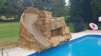 Poolside Waterfall with Slide