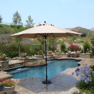 Pottery on pool and spa with sheer descents.