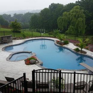 Modelo de piscinas y jacuzzis naturales, exóticos, grandes, a medida, en patio trasero, con suelo de hormigón estampado