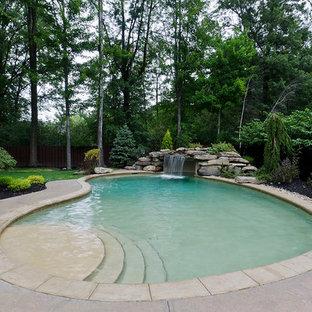 Imagen de piscina con fuente clásica tipo riñón