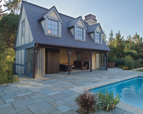 Tudor dormers home design ideas pictures remodel and decor for Detached garage pool house