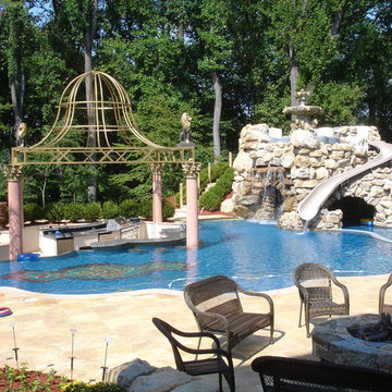 Private Residence with Custom Pool, Slide, Lazy River & Grotto