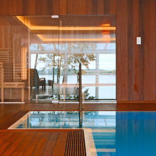 Idées déco pour des abris de piscine et pool houses rectangles.