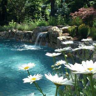 Diseño de piscina con fuente clásica, de tamaño medio, tipo riñón, en patio trasero, con adoquines de piedra natural