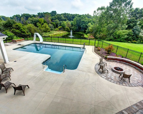L Shaped Pool Design Ideas Remodels Photos With A Water
