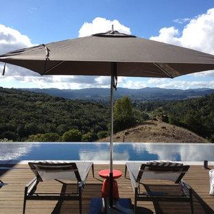 Esempio di un'ampia piscina a sfioro infinito minimalista rettangolare dietro casa con pedane e una vasca idromassaggio