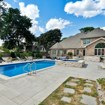 Prospect Heights Outdoor Living Project with Swimming Pool and Hot Tub