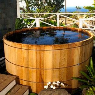 Foto de piscinas y jacuzzis tropicales, de tamaño medio, en patio trasero, con entablado
