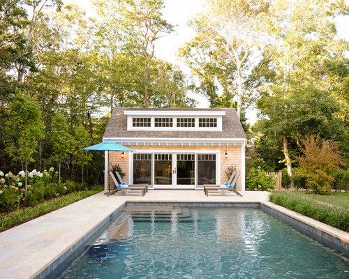 Coastal Backyard Stone And Rectangular Pool House Photo In Boston
