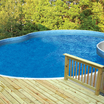 Radiant Free Form Above Ground Pool with Wood Decking