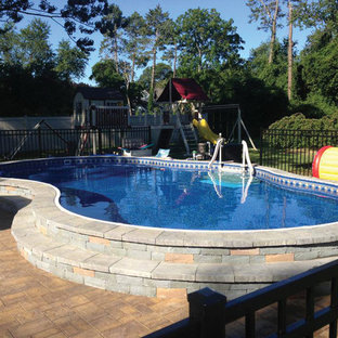 Radiant Free Form Semi In Ground Pool with Pavers