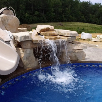 Radiant In Ground Pool (22x44) w/ Rico Rock Waterfall and Slide