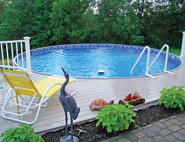 Radiant Round Above Ground Pool with Composite Decking