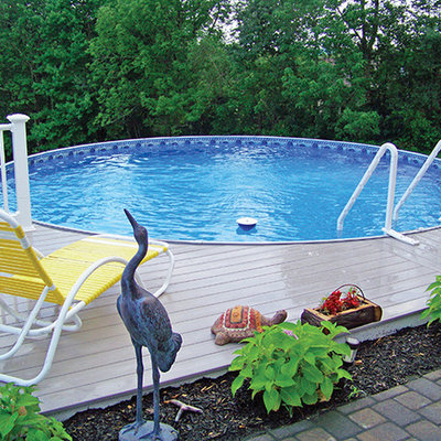 Example of a mid-sized classic backyard custom-shaped aboveground pool design in Detroit with decking