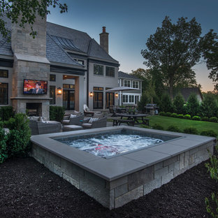 Raised Hot Tub with Fireplace and TV
