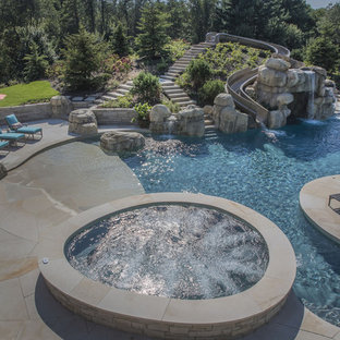 Raised Stone Spa with Amazing Pool