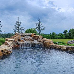 Diseño de piscinas y jacuzzis naturales, campestres, extra grandes, a medida, en patio trasero, con adoquines de piedra natural