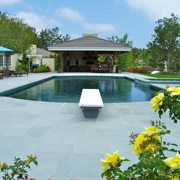 Rancho Santa Fe, Pool, Bluestone, Estate Driveway, Pool house