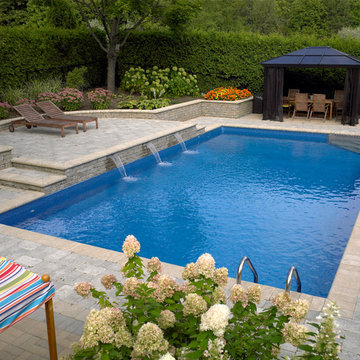Rectangle Pool with Sheer Descent Water Feature
