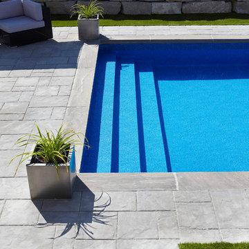Rectangle Vinyl Liner Over Step Inground Pool