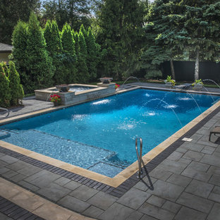Rectangular Pool with Deck Spray Water Features