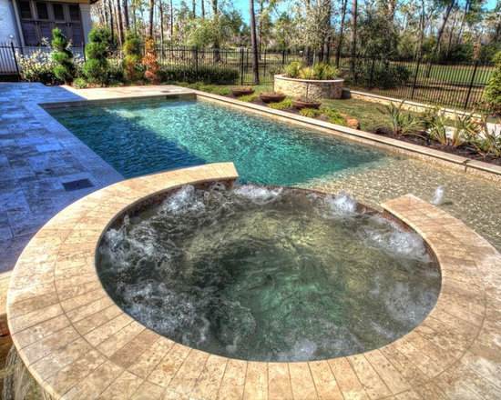 Rectangular Pool With Walkover Water Feature Fire Pit And Landscape