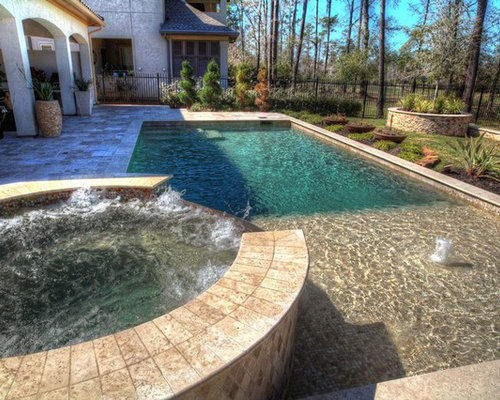 Rectangular pool with walkover water feature fire pit and landscape - Rectangle pool with water feature ...