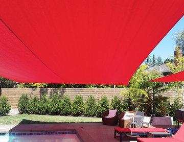 Red Pool shade sail